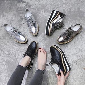 春季<span class=H>女鞋</span>子2018新款潮坡跟单鞋女百搭布洛克韩版厚底鞋女松糕底