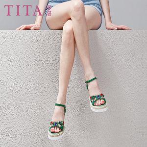 波西米亚<span class=H>凉鞋</span>女2018夏季新款韩版水钻厚底坡跟女士鞋子真皮高跟鞋