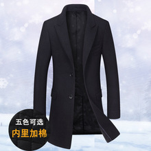 New winter trench men's medium and long-term professional wear Korean wool wool overcoat men's self-cultivation warm clothes