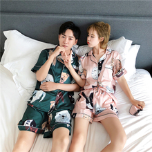 Lovers'Pyjamas Summer Ice Silk Short Sleeve Slim Korean Edition Lovely Summer Silk Men's Short Pants Home Suit for Women