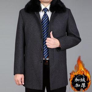 中老年毛<span class=H>呢大衣</span>男士外套爸爸装秋冬款加绒加大中长款商务呢子风衣