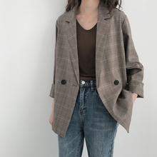 5sis checked suit jacket Korean version autumn dress 2019 new British style relaxed casual retro small suit