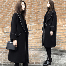 Hepburn woolen jacket mid-long Korean version of the new spring fashion show thin black woolen overcoat trend