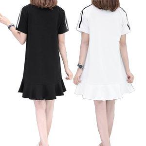 短袖中长款卫衣女2019夏季新款韩版连帽薄款宽松套头连衣裙带<span class=H>帽衫</span>