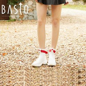 百思图2018冬季纺织物时尚<span class=H>女鞋</span>女靴新潮坡跟袜靴休闲靴ZAK01DD8