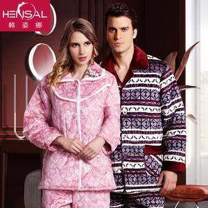 冬季法兰绒夹棉睡衣保暖睡袍加厚珊瑚男女士中老年爸妈家居服套装