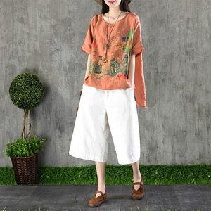 大码女装复古文艺棉麻短袖上衣女装夏季亚麻前短后长宽松苎麻T恤