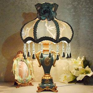 欧式台灯卧室<span class=H>床头</span>灯创意奢华温馨公主田园布艺结婚庆装饰调光台灯