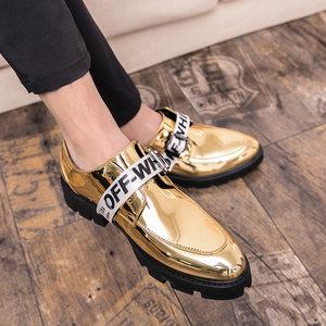 亮面小<span class=H>皮鞋</span>男士百搭休闲<span class=H>皮鞋</span>韩版英伦个性内增高潮鞋漆皮发型师鞋