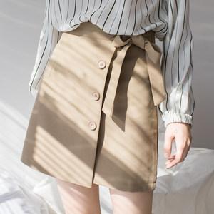 EGGKA2018春季新款排扣<span class=H>绑带</span>高腰半身裙a字裙裤蝴蝶结裙子包臀<span class=H>短裙</span>