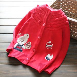 新年裝 女童喜慶大紅色針織衫棉線小熊刺繡<span class=H>開衫</span>立體春秋毛衣外套