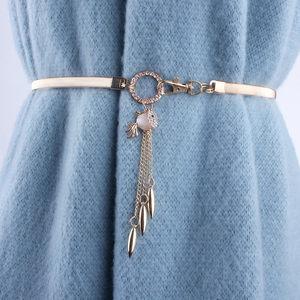 时尚镶水钻装饰腰带女细配裙子毛衣弹力松紧金属腰链简约百搭链条
