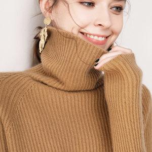 2018欧美秋冬新款毛衣女羊毛衫高领短款加厚宽松慵懒风针织打底衫