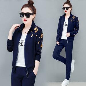 2019新款休闲运动套装女两件套时尚韩版显瘦卫衣三件套运动服