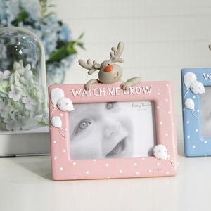 麋鹿相框摆台 可爱儿童宝宝照片框 创意动物摆饰树脂相片架