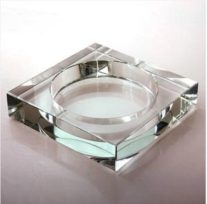 水晶烟缸纯白方直  广告烟灰缸时尚创意个性礼品刻字定做送垫摆饰