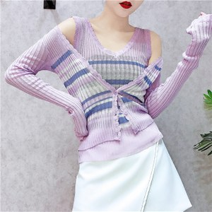 夏装2018新款女冰丝针织衫条纹<span class=H>背心</span><span class=H>长袖</span>开衫<span class=H>外套</span>女时尚两件套套装