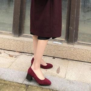 2017秋冬新款社交<span class=H>工作鞋</span>方头酒红色粗跟甜美少女百搭高跟女鞋单鞋