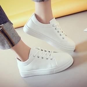 2017春季新款小白鞋韩版潮圆头板鞋系带女鞋子平底休闲鞋百搭单鞋
