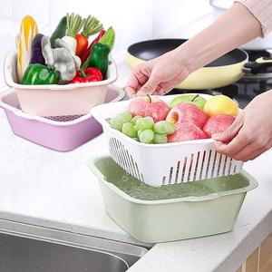领20元券购买多功能洗涤篮沥水器果盘塑料沥水筛洗菜盆双层3件套可当6个用