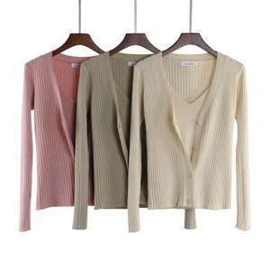 针织衫开衫2018秋冬吊带背心两件套韩版短款v领长袖外套显瘦套装