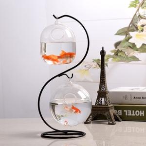 现代简约透明玻璃鱼缸<span class=H>家居</span>摆件创意桌面鱼缸花瓶客厅装饰品包邮