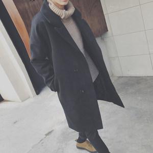 冬季潮新款毛呢<span class=H>大衣</span>男中长款呢子宽松外套青少年韩版潮流加厚风衣
