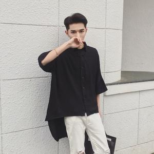 原創設計<span class=H>男裝</span>夏季中長款襯衫發型師時尚服裝潮男不規則五分襯衣薄