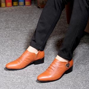 新款男士真皮<span class=H>男鞋</span>商务尖头<span class=H>皮鞋</span>韩版休闲牛皮增高秋季潮鞋<span class=H>鞋子</span>男潮
