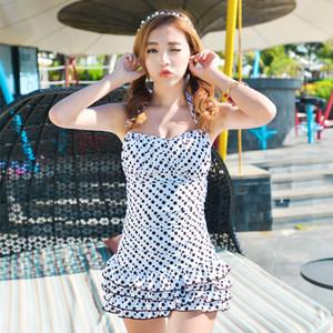 2015新款时尚波点<span class=H>泳衣</span>女 带钢托带胸垫蛋糕连体裙式遮肚泳装温泉