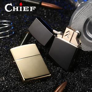 CHIEF首领创意煤油<span class=H>打火机</span>男士个性定制刻字黄铜一机双芯充气火机