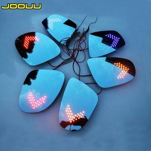 大视野蓝镜带LED<span class=H>转向灯</span> 防眩目后视镜片改装电加热倒车镜片防眩光