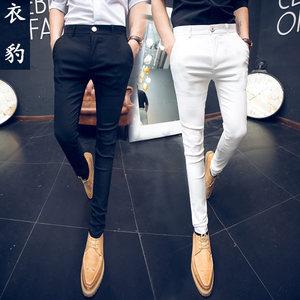 男<span class=H>裤子</span>夏季社会韩版潮流2017新款发型师紧身休闲裤小脚九分裤修身