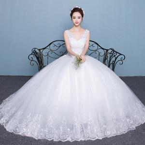 <span class=H>婚纱</span>礼服韩式双肩V领显瘦公主大码齐地2019新款女长拖尾新娘结婚