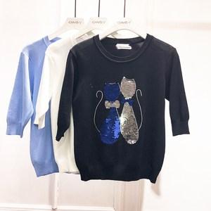 亮片刺绣小猫冰丝五分袖针织衫女圆领套头甜美风短款打底T恤上衣