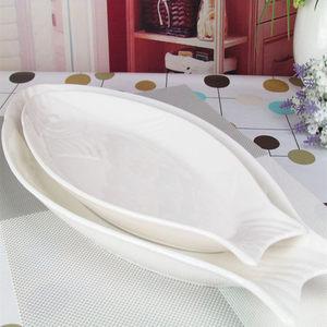 陶瓷<span class=H>鱼</span>盘子家用菜盘创意 纯白酒店异形西餐盘 椭圆深<span class=H>鱼</span>盘餐具包邮