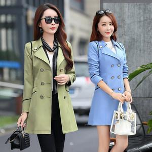 春装韩版女式<span class=H>风衣</span>中长款修身20-30到40岁双排扣西装气质50岁外套