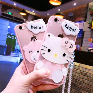 苹果6s手机壳6plus硅胶7plus保护套iphone5/5s防摔挂绳带镜子软女