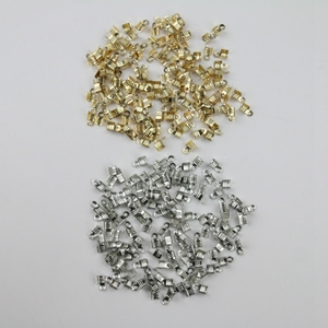 diy<span class=H>饰品</span>配件材料 扣 羽毛夹扣 金属夹扣  羽毛装孔材料 约200粒