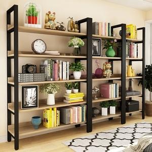 钢木<span class=H>书架</span>简易铁艺货架墙上多层置物架客厅架展示架子落地组合书柜