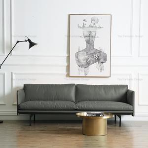 北欧真皮<span class=H>沙发</span>小户型办公客厅轻奢设计师三人位<span class=H>沙发</span>超纤皮简约黑色