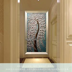玄关装饰画纯手绘<span class=H>油画</span>竖版抽象走廊过道客厅壁挂画新款立体发财树