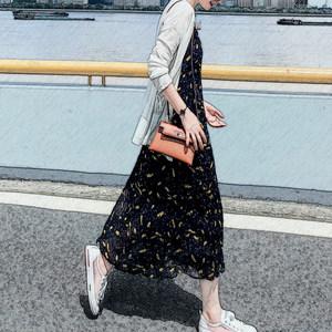 2019新款韩版长款连衣裙女春夏<span class=H>吊带</span>长裙雪纺裙子流行两件套碎花裙