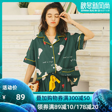 Pyjamas Woman Summer Pure Cotton Short Sleeves Cute Two-piece Suit Korean Sweet and Thin New Spring and Autumn Home Clothing Summer
