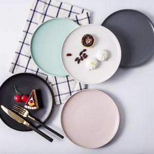日式陶瓷早餐盘碟子水果盘纯色菜盘牛排盘子平盘西餐盘餐具大<span class=H>圆盘</span>