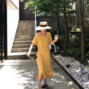 FFAN泛泛 极简主义宽松收腰中长款初恋复古连衣裙#