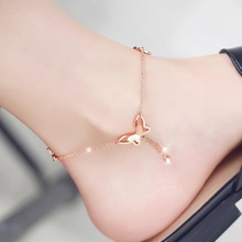 Korean version of the fashion personality simple student female models bells feet ankle plated 18k rose gold sexy titanium steel anklet