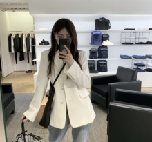 WM Wonderful Craftsman's White Suit Jacket Women's Korean Version White Suit Women's Leisure Show Slender Spring and Summer Chic Suit Suit