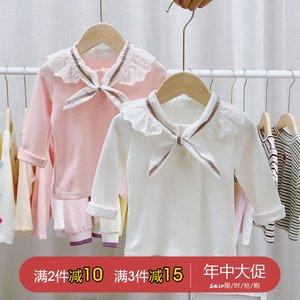 女宝宝打底衫春秋婴儿<span class=H>上衣</span>长袖t恤纯棉白色女童春装小童幼儿洋气