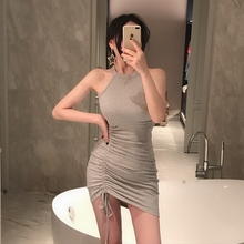Miaomiao customized neck and shoulder-hanging dress sexy summer Drawstring Bottom suspender skirt irregular buttock skirt 6078